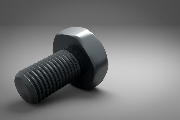 Grijze metalen schroef geïsoleerd op grijs