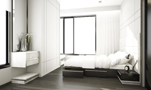 Grijze minimale moderne klassieke stijl interieur slaapkamer in condominium met grote ramen 3d-rendering