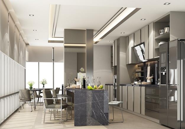 Grijze moderne eigentijdse keuken met keukenapparatuur en eilandblad zwart marmer op houten vloer. 3d-weergave
