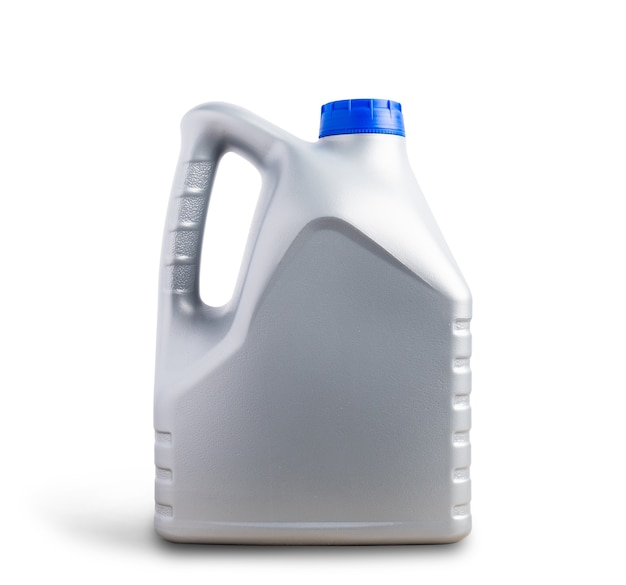 Grijze plastic jerrycan machine smeerolie gallon fles 4 liter