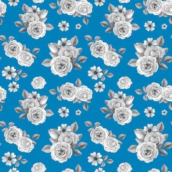 Grijze rozen op blauwe achtergrond.
