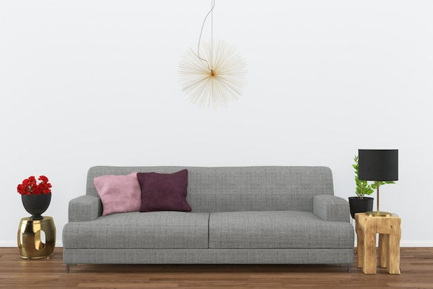 Grijze sofa donkere houten vloer woonkamer interieur 3d-rendering achtergrond zwarte lamp