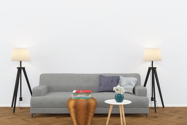 Grijze sofa donkere houten vloer woonkamer interieur lamp achtergrond sjabloon tafel