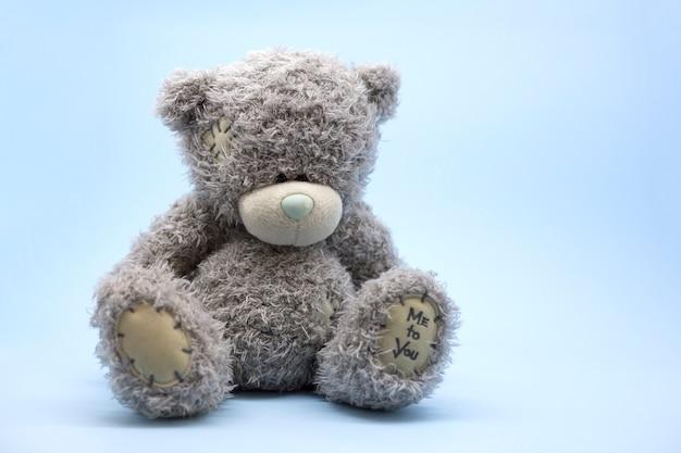 Grijze speelgoed teddybeer zit alleen