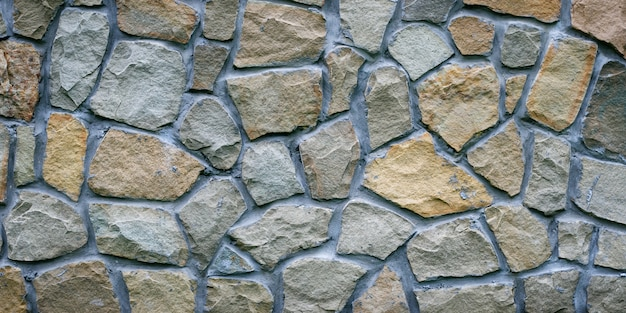 Grijze stenen muur. het patroon van grijs graniet. oneffen rotsoppervlak van de vloer, decoratieve tegel van de gevelbouw. breed panorama.