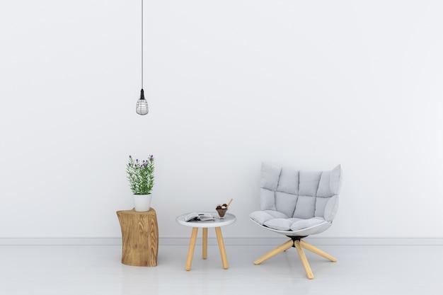 Grijze stoel in witte woonkamer voor mockup