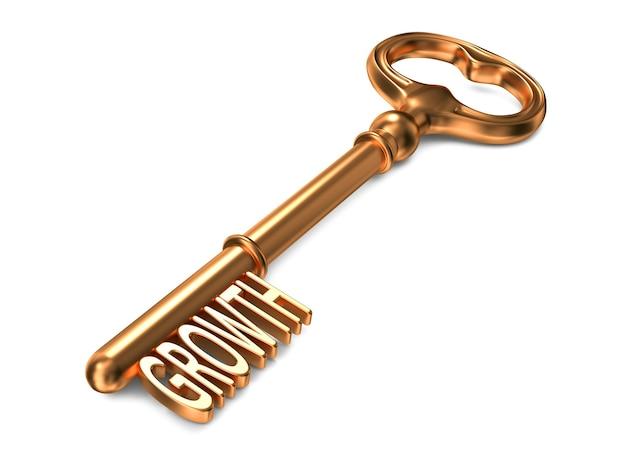 Groei - gouden sleutel. 3d-weergave. bedrijfsconcept.