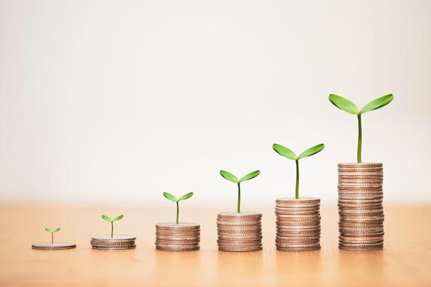 Groei munten stapelen met plant.