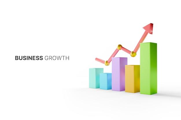 Groeiende grafiekbalk met stijgende pijl. bedrijfsontwikkeling tot succes en groeiend groeiconcept. 3d illustratie