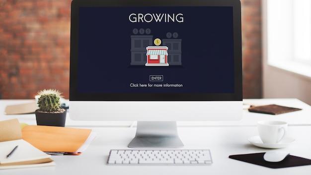 Groeiende lancering opstarten nieuw bedrijfsconcept