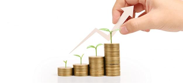 Groeiende munten in de hand. financiering van investeringen concep