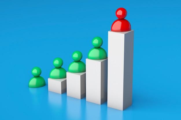 Groeimeter en zakenlieden. succesvol bedrijf met meer winst. 3d render.