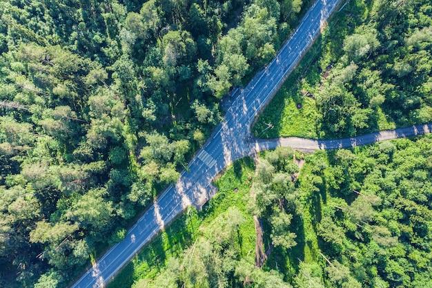 Groen bos luchtfoto drone uitzicht. weg in bos van bovenaf.