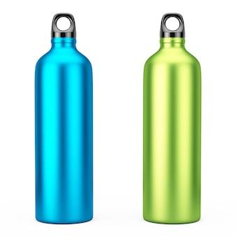 Groen en blauw aluminium fiets water sport flessen mockup op een witte achtergrond. 3d-rendering