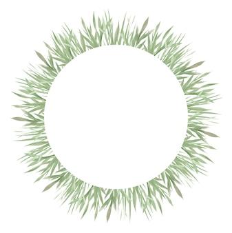 Groen frame, groene bladeren en takken, aquarel designelementen, handgetekende illustratie drawn