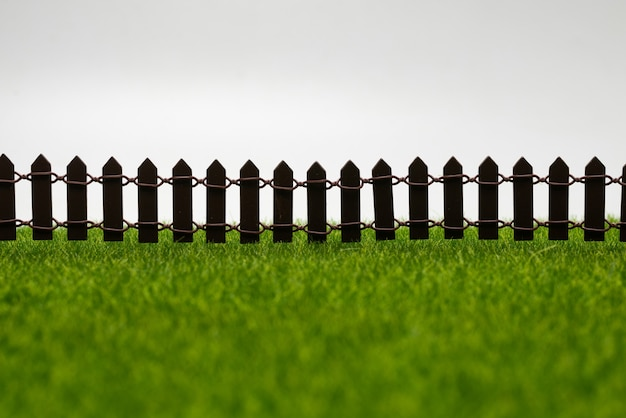 Groen gras en hek geïsoleerd op een witte ondergrond