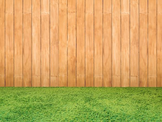 Groen gras of gras op houten achtergrond