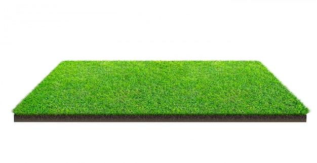Groen grasgebied dat op wit met het knippen van weg wordt geïsoleerd. sportveld. zomerspelen.