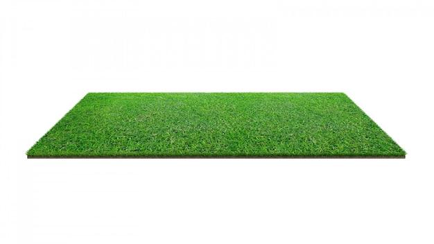 Groen grasgebied dat op wit met het knippen van weg wordt geïsoleerd.