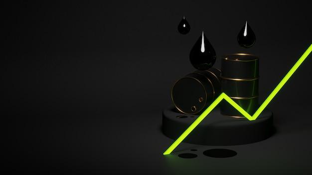 Groen groeiende olieprijsgrafiek met vaten