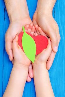 Groen hart in handen van volwassene en kind