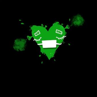 Groen hartslijm tekenen in beschermend medisch masker, valentijnsdag concept.