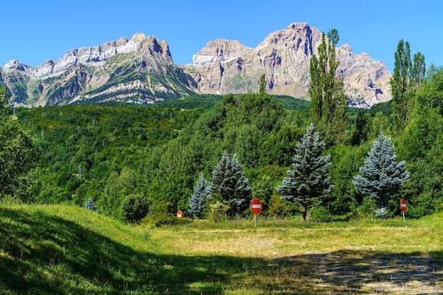 Groen hooggebergte landschap met naaldbomen en hoge toppen in de pyreneeën, aragon, spanje. europa.
