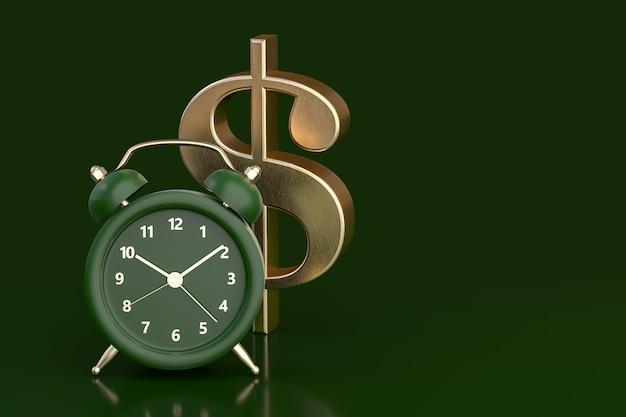 Groen horloge en teken van dollar. 3d-rendering