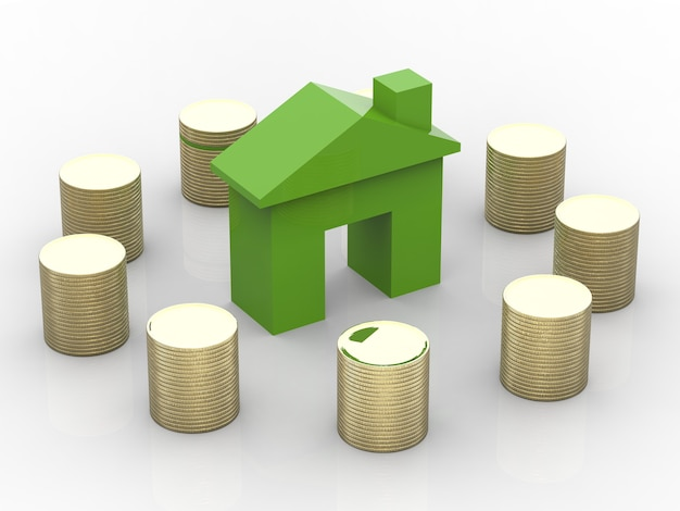 Groen huis omgeven door stapel munten