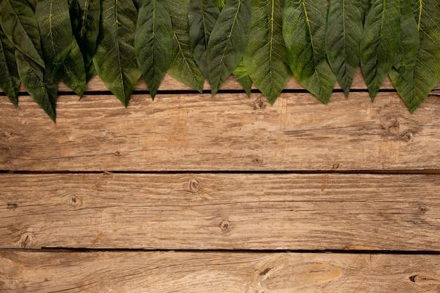 Groen laat een houten bruine achtergrond achter