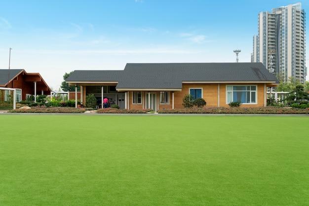 Groen leven, grasland en verre huizen