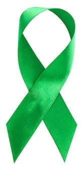 Groen lint. scoliose, geestelijke gezondheid en andere, voorlichtingssymbool dat op wit wordt geïsoleerd