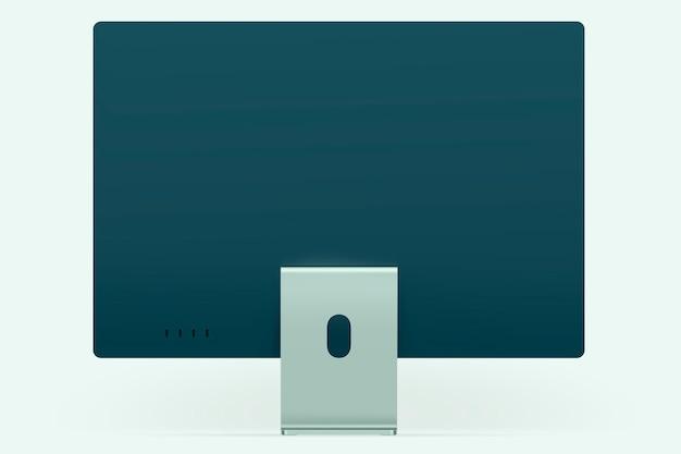 Groen minimaal digitaal desktop-computerapparaat met ontwerpruimte