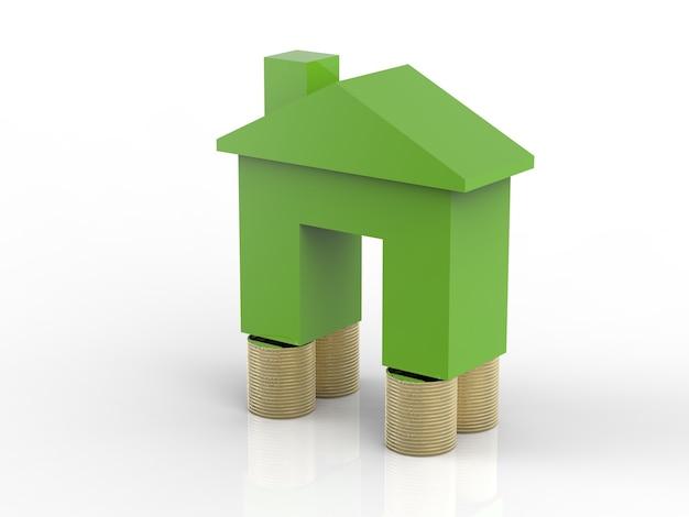 Groen mock-up huis met gouden munten