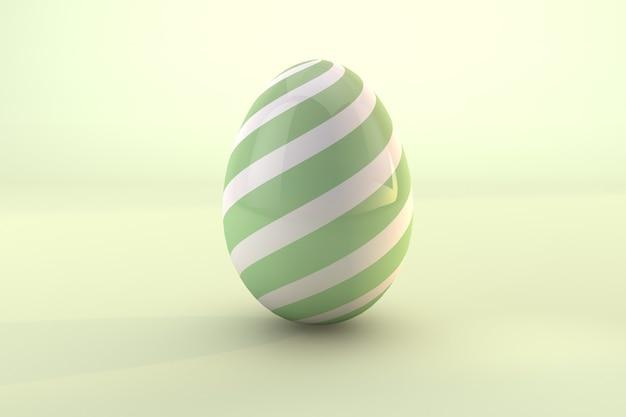 Groen paaseipatroon dat op groene pastelkleurachtergrond wordt geïsoleerd. 3d render een bestand psd transparante achtergrond