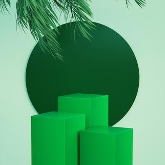 Groen podium met bladeren bovenop voor reclame voor modetentoonstellingen en 3d-rendering van producten