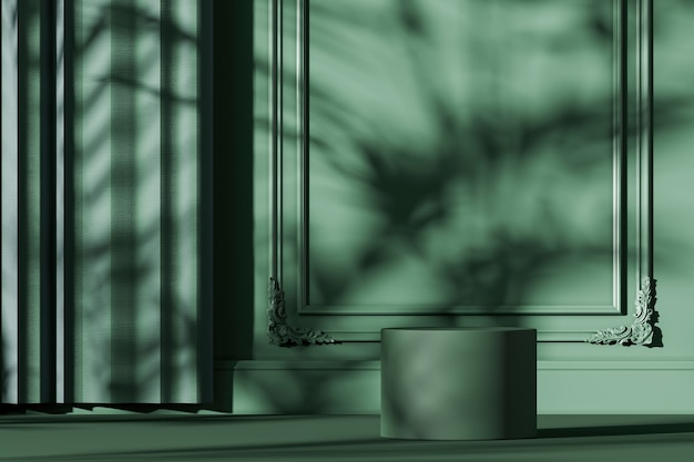 Groen podium op groene mockupscène, parasol en plantenschaduw op muur, abstracte achtergrond voor product of presentatie. 3d-rendering