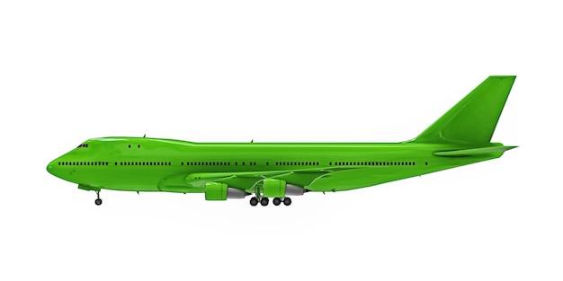 Groen vliegtuig op witte geïsoleerde achtergrond. groot passagiersvliegtuig met grote capaciteit voor lange transatlantische vluchten. 3d illustratie.