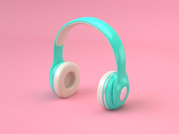 Groen wit koptelefoon minimale roze achtergrond 3d-rendering