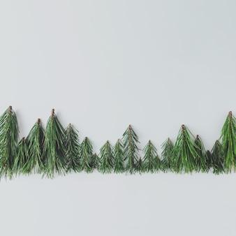 Groenblijvende dennenbos boomgrens gemaakt van takken. minimaal natuurconcept. plat leggen.