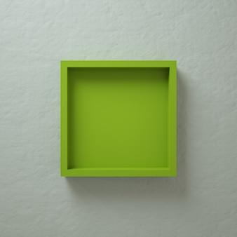 Groene 3d vierkante doos muurweergave