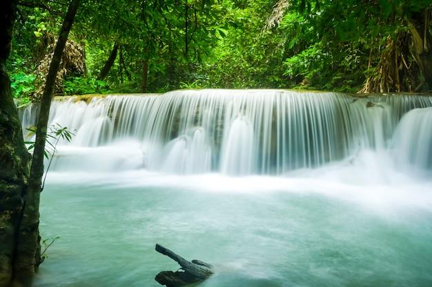 Groene aard met groen watervallandschap