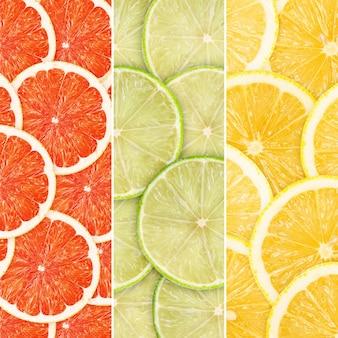 Groene achtergrond met citrusfruitplakken
