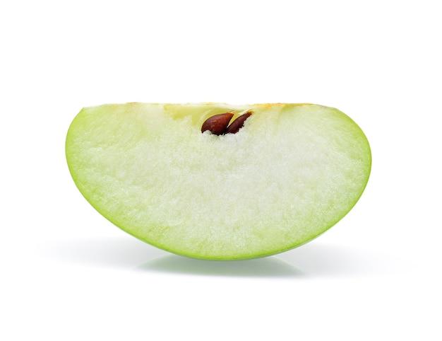 Groene appelplak die op witte achtergrond wordt geïsoleerd