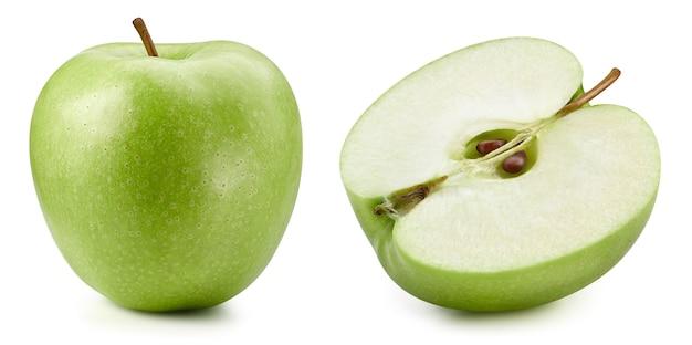 Groene appels geïsoleerd op een witte achtergrond. rijpe verse appels uitknippad. appels collectie