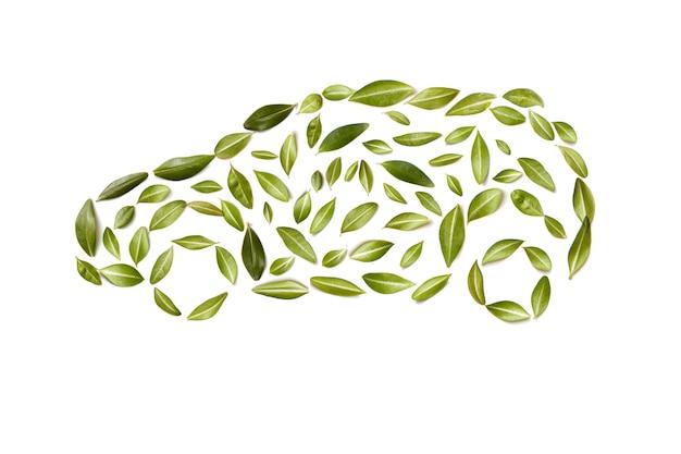 Groene auto symbool van bladeren, geïsoleerd op een witte achtergrond