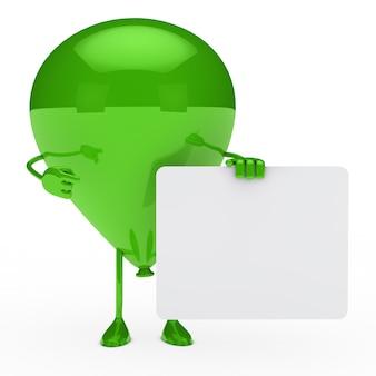 Groene ballon poseren met een leeg aanplakbiljet