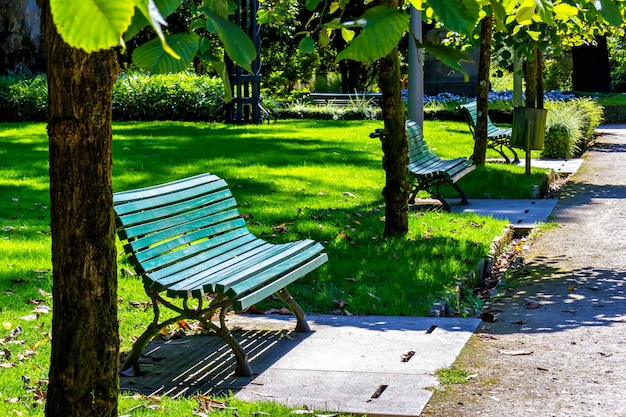 Groene banken in het zomerpark, spanje