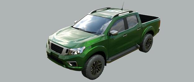 Groene bestelwagen voor bedrijfsvoertuigen met een dubbele cabine 3d-rendering