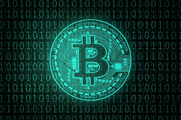 Groene bitcoin op binaire code.